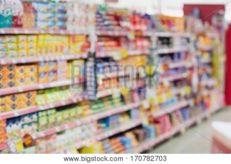 Defocused image of shelf on a grocery