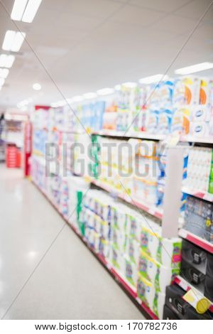 Focus on foreground of an aisle on a grocery