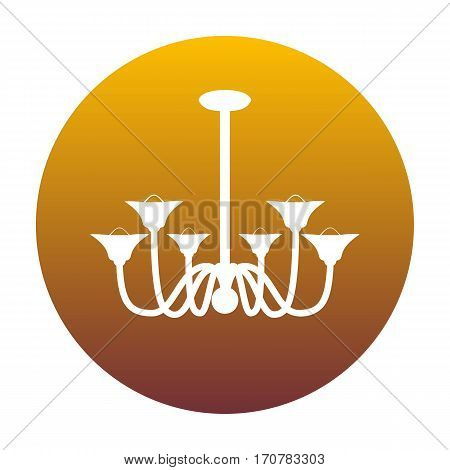 Chandelier simple sign. White icon in circle with golden gradient as background. Isolated.