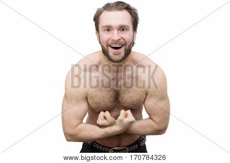 The photo depicts a strong athletic man