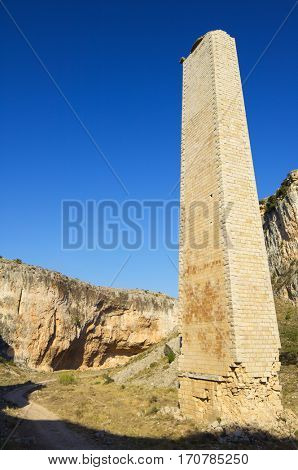 Rock formation and stone pillar of an old railway in Zafrane Canyon, Zaragoza Province, Aragon, Spain.