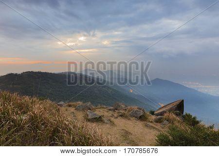 Tai Mo Shan sunset, hong kong famous mountain