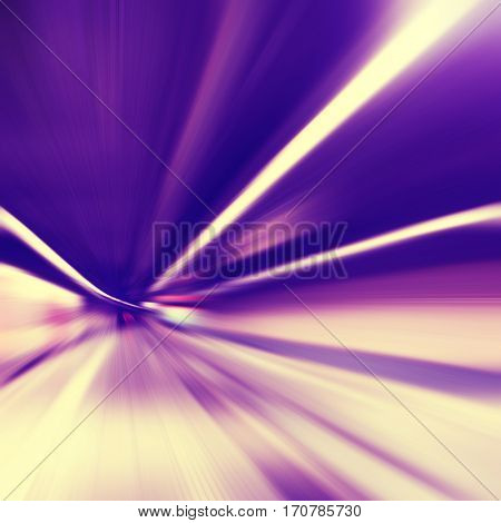 Abstract image of train station and train in motion blur.