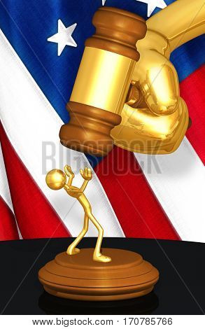 United States Of America Law Legal Concept With The Original 3D Character Illustration