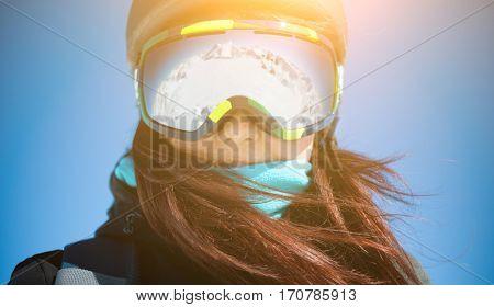 Brunette in glasses close up