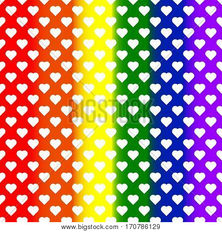 White small hearts on rainbow background. LGBT background. Design element for poster, banner, flyer, greeting card, pride.