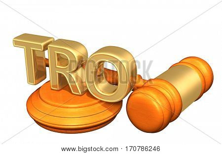 TRO Law Legal Gavel Concept 3D Illustration