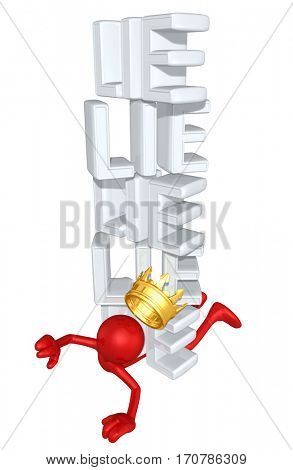 The King Of America Crushed By A Stack Of Lies With The Original 3D Character Illustration