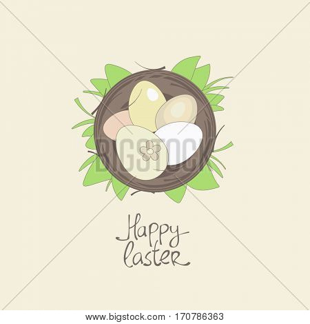 Happy Easter card template, basket with eggs in grass, rasterized version