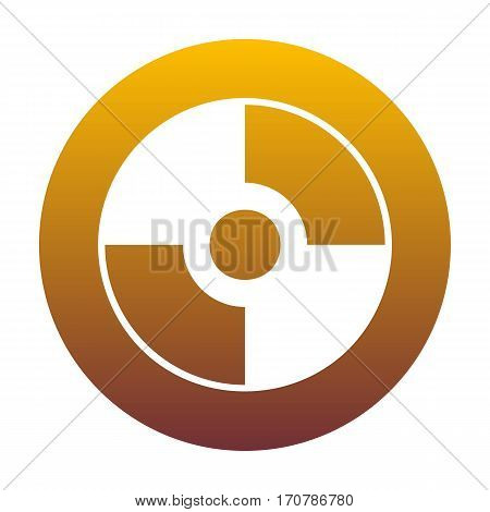 Vector CD or DVD sign. White icon in circle with golden gradient as background. Isolated.