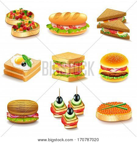Sandwiches icons detailed photo realistic vector set
