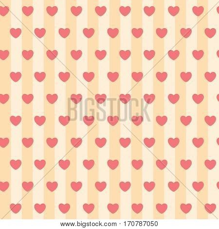 Red Hearts, seamless pattern on a background of yellow and beige Stripes. illustration.