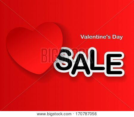 Valentine's Day Sale, red Heart and text on red background. illustration.