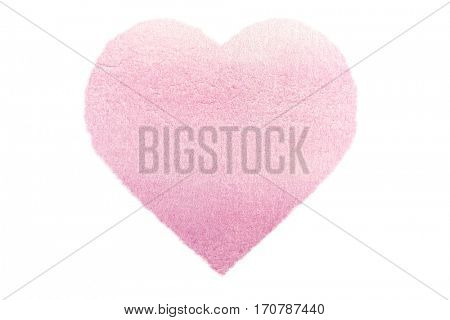 Painted Pastel Pink Watercolour Heart isolated on white