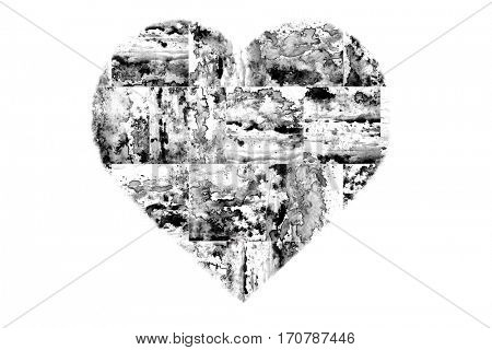 Painted Black and White Heart isolated on white