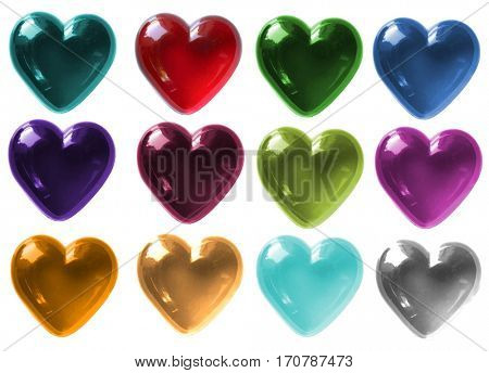 Isolated Glass Hearts in various colours