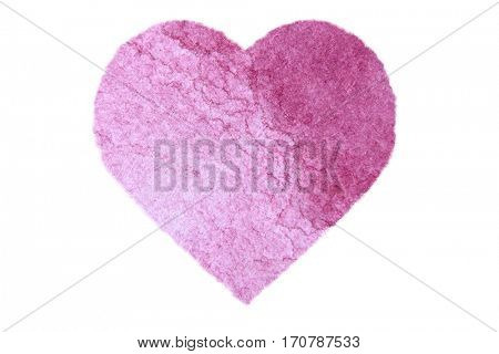 Painted Pink Watercolour Heart isolated on white
