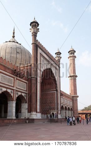 DELHI, INDIA - FEBRUARY 13 : The spectacular architecture of the Great Friday Mosque (Jama Masjid) on February, 13, 2016, Delhi, India.