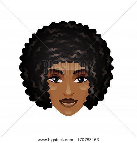 African girl face isolated cartoon vector illustration