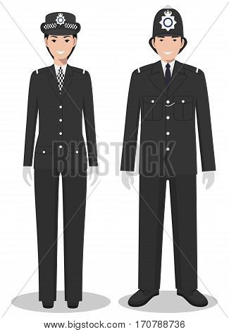 Couple of british police people isolated on white background. Set of Great Britain policeman and policewoman standing together. Cute and simple in flat style.