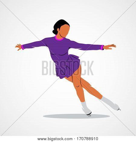 Winter sport Figure skating girl on a white background. Photo illustration.