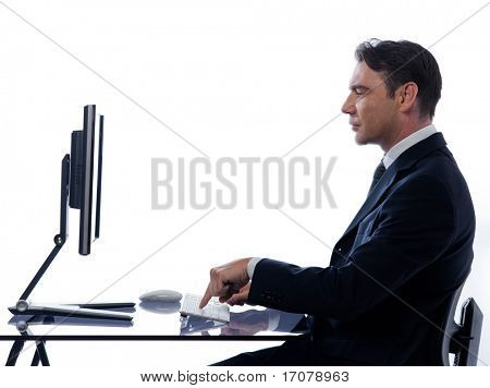 caucasian business man computer  computing isolated studio on white background poster