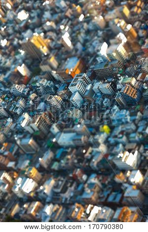 Tilt-Shift effect aerial view of houses over in Tokyo City, Japan, Asia