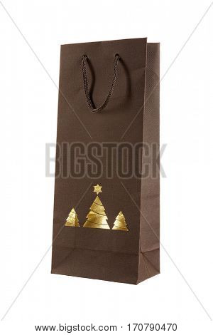 Christmas gift bag with gold christmas trees,  isolated on white background.