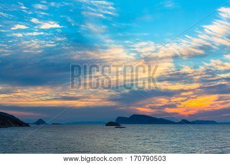 Stunning sunset in the Aegean sea.