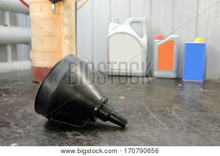 Equipment for oil changing in car repair station