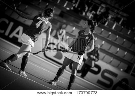 VALENCIA, SPAIN - FEBRUARY 7: (L) Katerla, (R) Rybacha during Hockey World League Round 2 match between Ghana and Poland at Betero Stadium on February 7, 2017 in Valencia, Spain