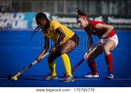 VALENCIA, SPAIN - FEBRUARY 7: (L) Shaibu, (R) Blaszyk during Hockey World League Round 2 match between Ghana and Poland at Betero Stadium on February 7, 2017 in Valencia, Spain