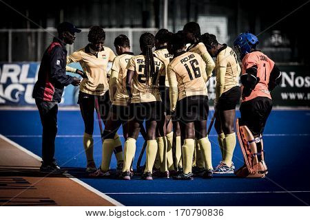 VALENCIA, SPAIN - FEBRUARY 7: Ghana players during Hockey World League Round 2 match between Ghana and Poland at Betero Stadium on February 7, 2017 in Valencia, Spain