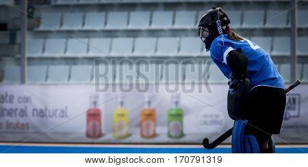 VALENCIA, SPAIN - FEBRUARY 7: Marta Kucharska during Hockey World League Round 2 match between Ghana and Poland at Betero Stadium on February 7, 2017 in Valencia, Spain