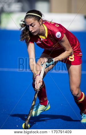 VALENCIA, SPAIN - FEBRUARY 7: Carola Salvatella during Hockey World League Round 2 match between Spain and Turkey at Betero Stadium on February 7, 2017 in Valencia, Spain