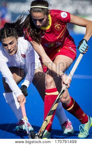 VALENCIA, SPAIN - FEBRUARY 7: (R) Carola Salvatella during Hockey World League Round 2 match between Spain and Turkey at Betero Stadium on February 7, 2017 in Valencia, Spain