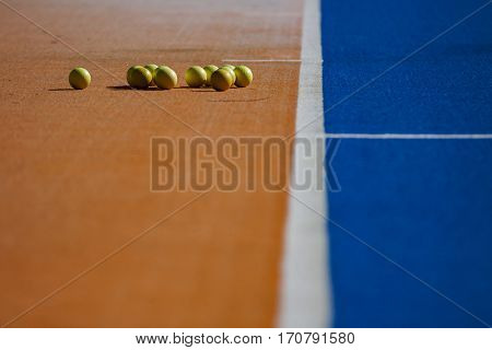 VALENCIA, SPAIN - FEBRUARY 7: Balls and field detail during Hockey World League Round 2 match between Spain and Turkey at Betero Stadium on February 7, 2017 in Valencia, Spain