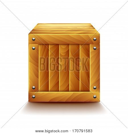Crate isolated on white photo-realistic vector illustration