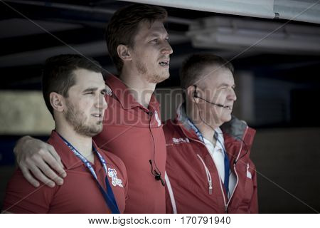 VALENCIA, SPAIN - FEBRUARY 7: Czech Republic technical staff during Hockey World League Round 2 match between Russia and Czech Republic at Betero Stadium on February 7, 2017 in Valencia, Spain