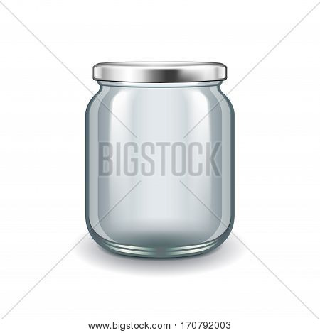 Empty glass jar isolated on white photo-realistic vector illustration