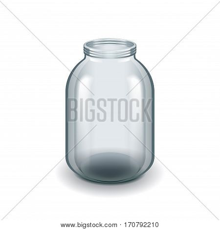 Empty three-liter glass jar isolated on white photo-realistic vector illustration