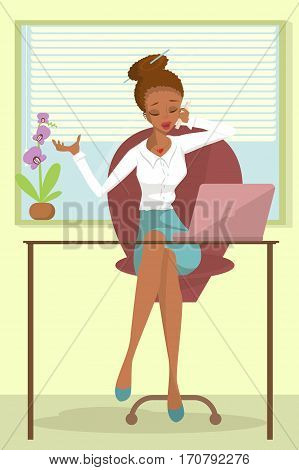 Business African woman or a clerk working at workplace. Young woman talks on phone at office desk. Design concept of the secretary or administrator. Isolated Vector illustration eps10