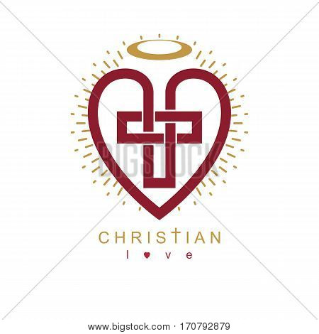 Love of God conceptual symbol combined with Christian Cross and heart vector creative logo.