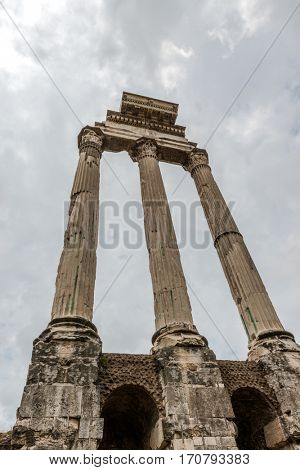 Pillars at the ancient ruins of the Roman Forum, Italy