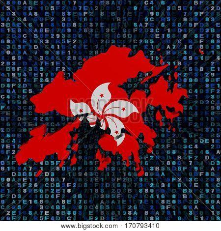 Hong Kong map flag on hex code 3d illustration