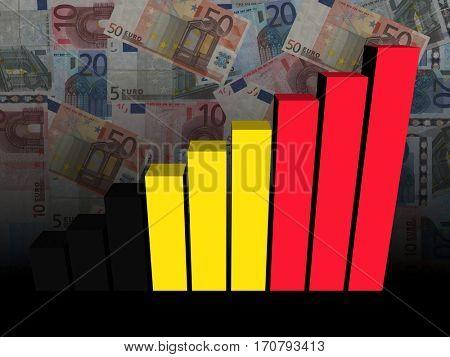 Belgian flag bar chart over euros 3d illustration