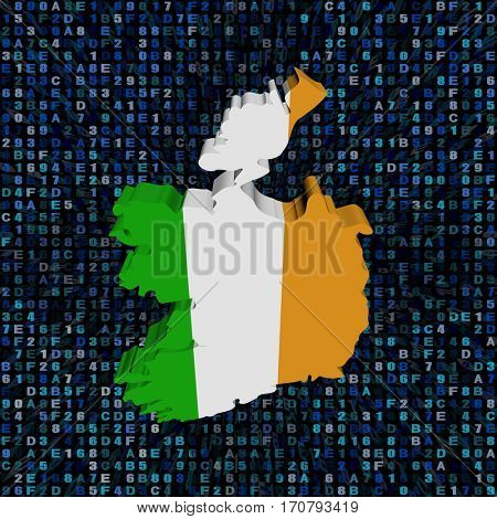 Ireland map flag on hex code 3d illustration