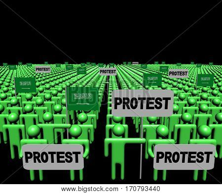 Crowd of people with protest signs and Saudi Arabian flags 3d illustration
