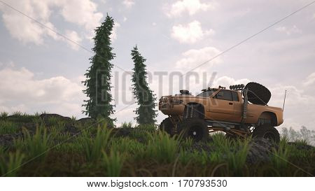 3d illustration of the general bigfoot offroad truck on grassy hill