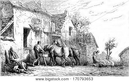 Etching unfinished, vintage engraved illustration. Magasin Pittoresque 1852.